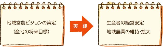 地域営農ビジョンの策定(産地の将来目標)→実践→ 生産者の経営安定、地域農業の維持・拡大